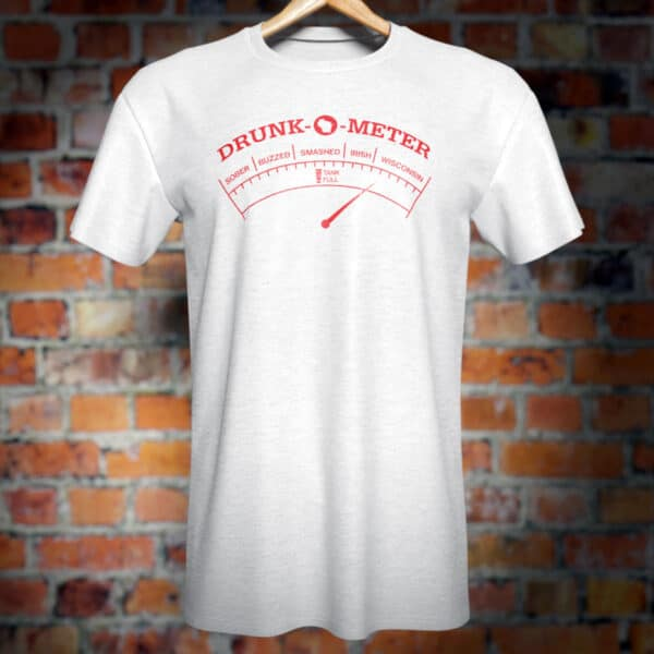 Wisconsin Drunk-O-Meter T-Shirt. Funny novelty tee.